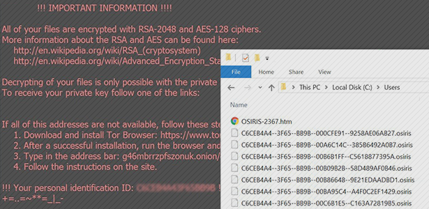 OSIRIS virus: files decryption and ransomware removal
