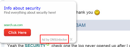 Text ad injected by DNSUnlocker
