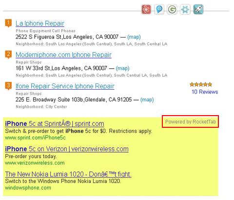 Annoying ads displayed by RocketTab adware in Safari