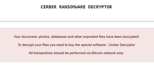 Cerber Ransomware Decryptor warning