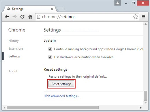 Click Reset settings in Chrome