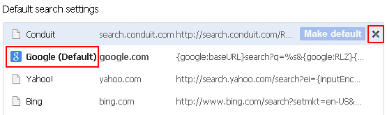 Eliminate malicious search provider and select preferred one in Chrome