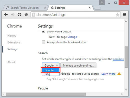 Select default search engine