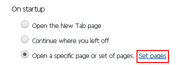 Set pages button