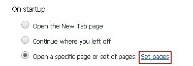 Set pages button