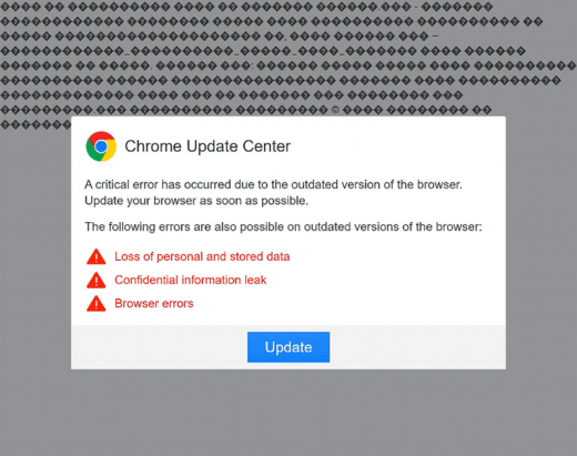 Misleading 'Chrome Update Center' popup