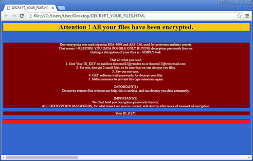 Fantom drops DECRYPT_YOUR_FILES.html ransom note