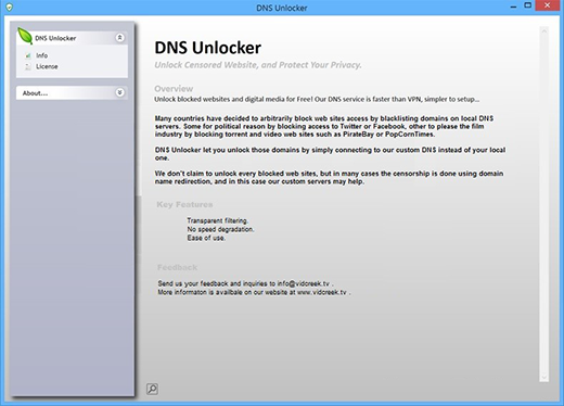 User interface of DNSUnlocker