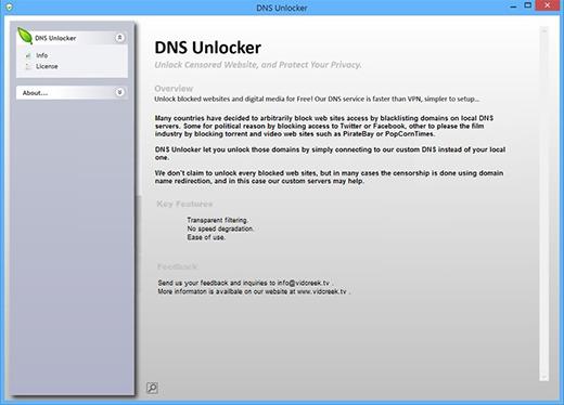 User interface of DNSUnlocker