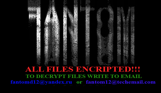 Fantom ransomware warning screen