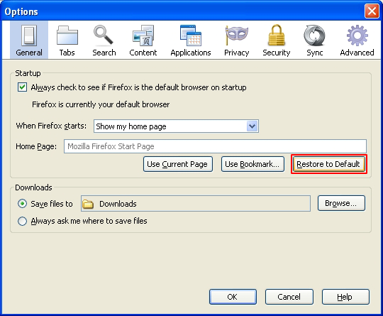 Restore home page in Firefox