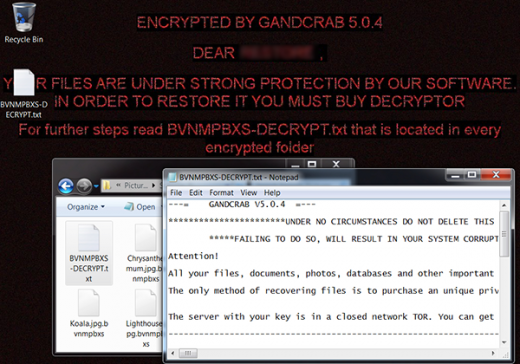 Attributes of the GandCrab 5.0.4 ransomware attack