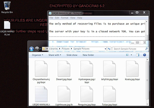 GandCrab 5.2 screwing with a victim's files