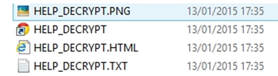 Variants of HELP_DECRYPT files added to a folder