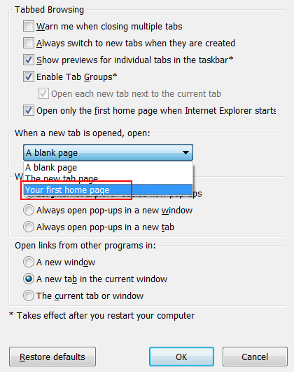 Correct the tabbed browsing settings