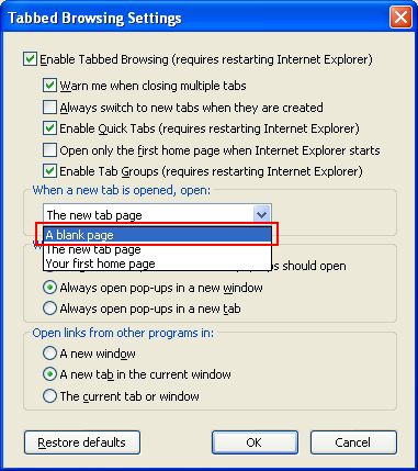 Tabbed Browsing Settings interface