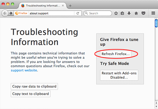 Refresh Firefox on Mac