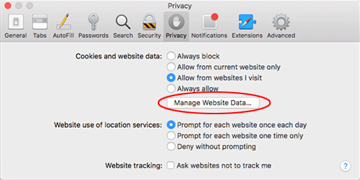 Manage Website Data option in Safari
