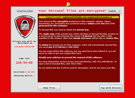 New Cryptolocker ransomware window