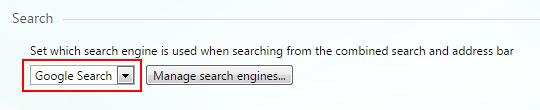 Select preferred search provider in Opera