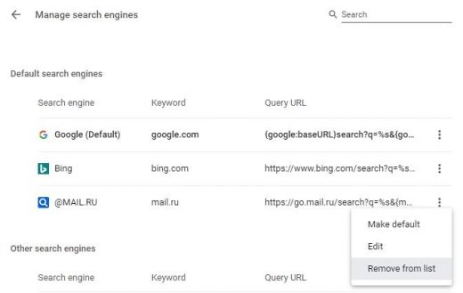 Remove unwanted service from Chrome default search engines