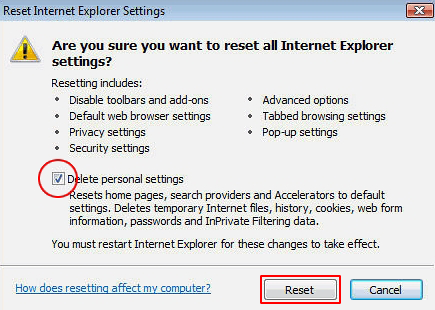 Reset Internet Explorer 3